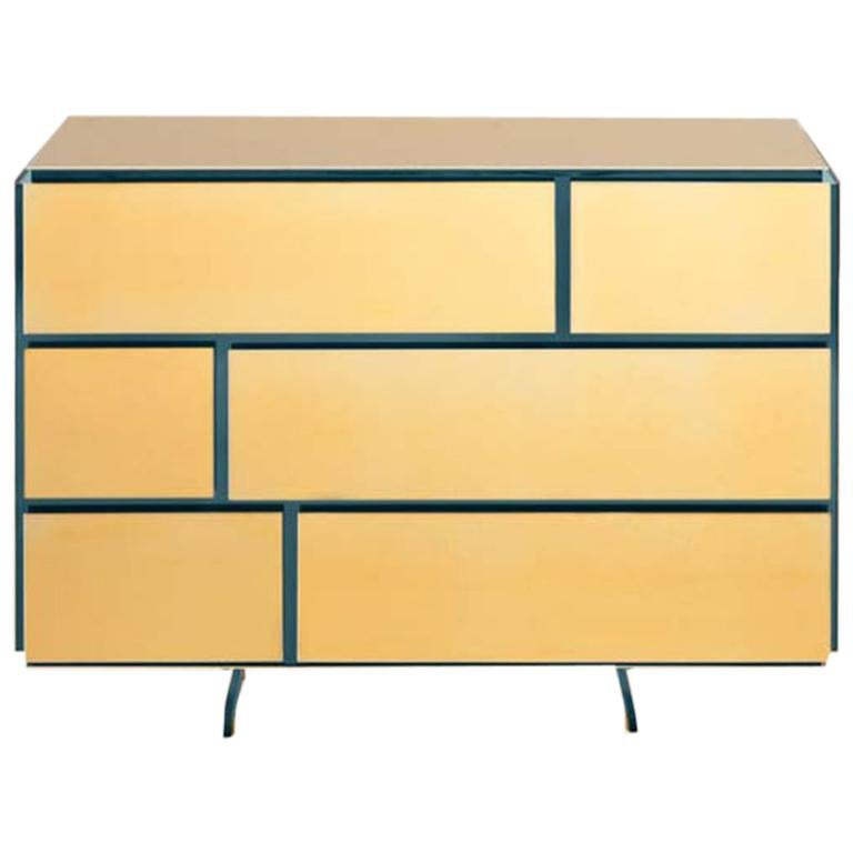 Gold Contemporary Chest Of Drawers 24 Karat Polished Plated For