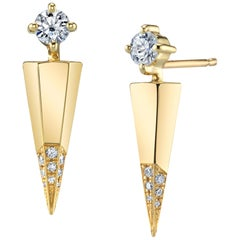 Gold Contemporary Earrings with Diamonds by ARK Fine Jewelry