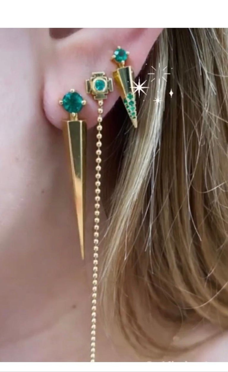 Round Cut Gold Contemporary Earrings with Emeralds For Sale
