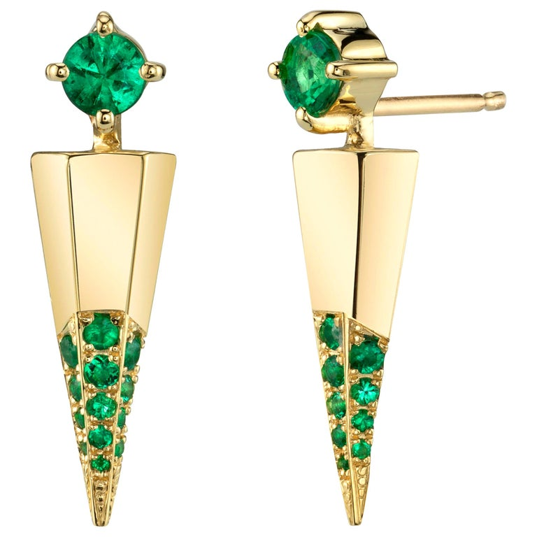 Gold Contemporary Earrings with Emeralds For Sale