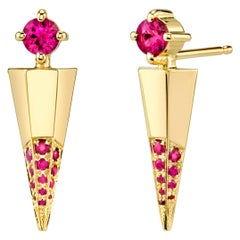 Gold Contemporary Earrings with Rubies
