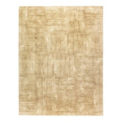 Gold Contemporary Hand Knotted Wool and Silk Rug
