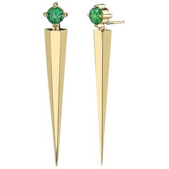 Gold Contemporary Long Earrings with Emeralds