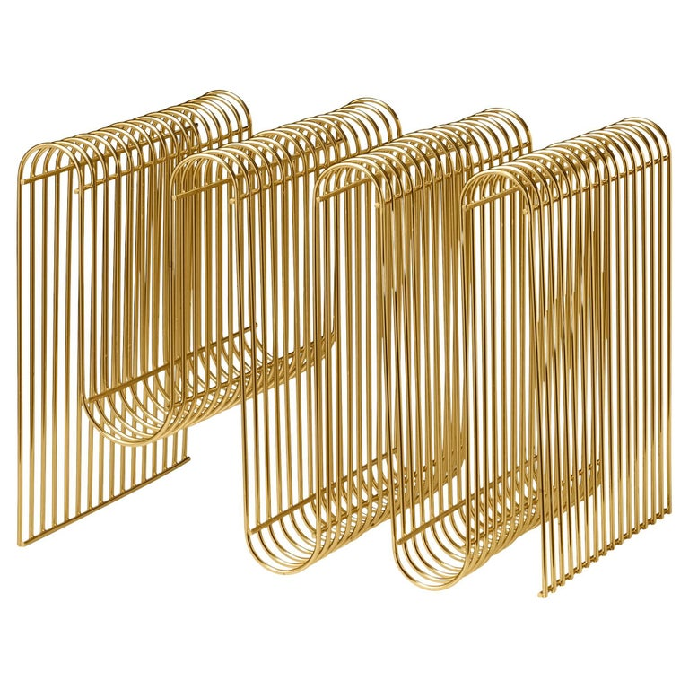 Gold Contemporary Magazine Holder For Sale