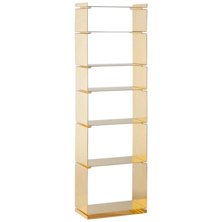 Gold Contemporary Modular Bookshelf Of 24 Karat Plated For