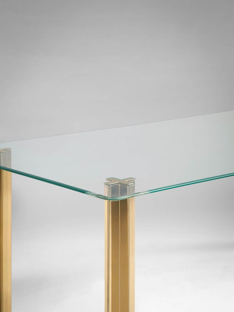 Modern Gold Contemporary Rectangular Table, Glass Top and Gold-Plated Aluminium Legs For Sale