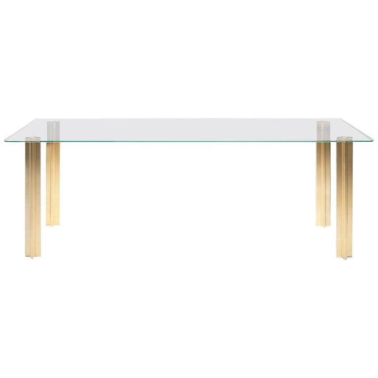 Gold Contemporary Rectangular Table, Glass Top and Gold-Plated Aluminium Legs For Sale