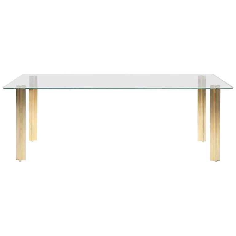 Gold Contemporary Rectangular Table, Glass Top and Gold Plated Aluminium Legs For Sale