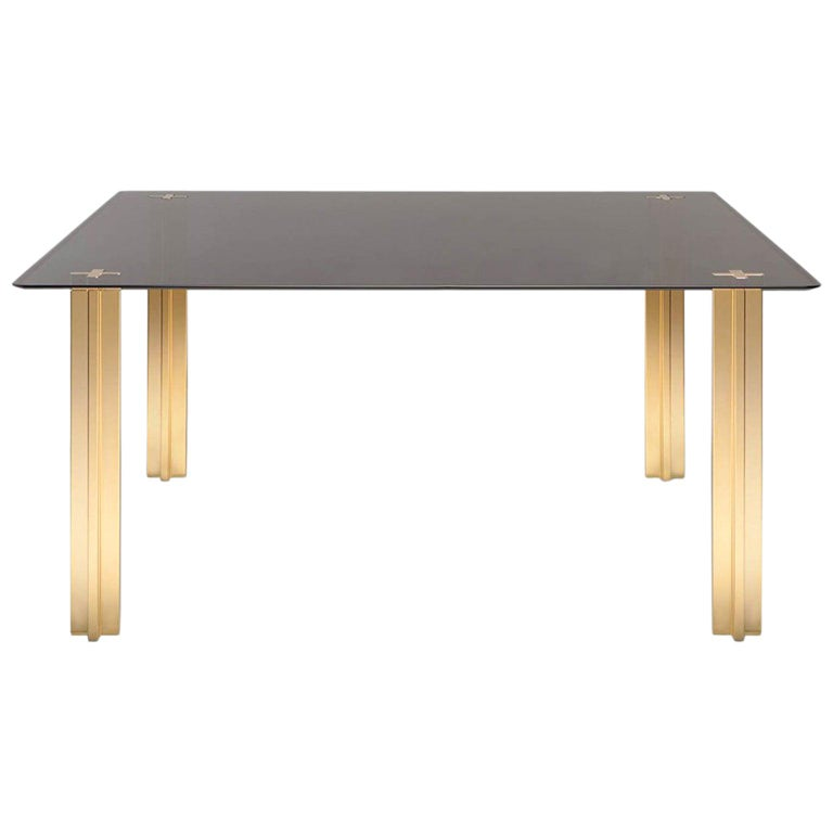 Gold Contemporary Square Table, Glass Top and Gold-Plated Aluminium Legs For Sale