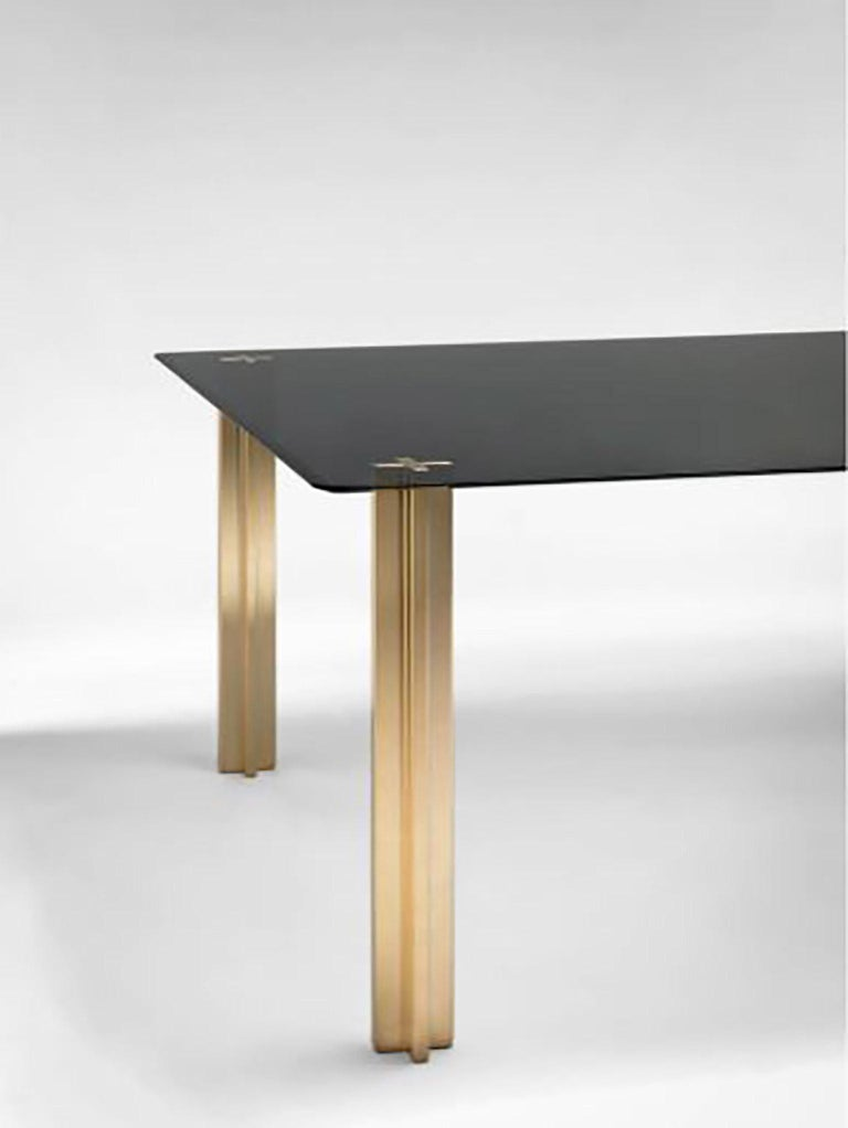 Modern Gold Contemporary Square Table, Smoke Glass Top and Gold-Plated Aluminium Legs For Sale
