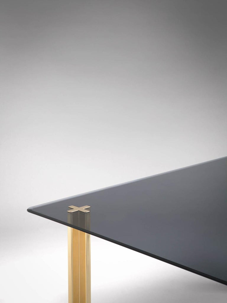 Italian Gold Contemporary Square Table, Smoke Glass Top and Gold-Plated Aluminium Legs For Sale