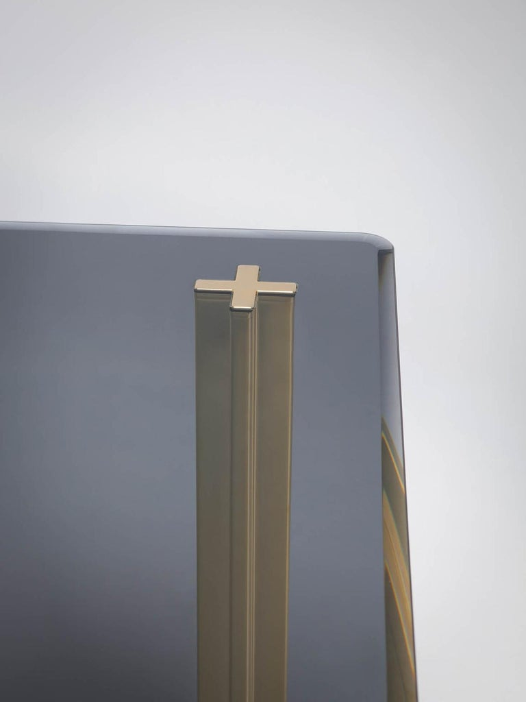 Galvanized Gold Contemporary Square Table, Smoke Glass Top and Gold-Plated Aluminium Legs For Sale