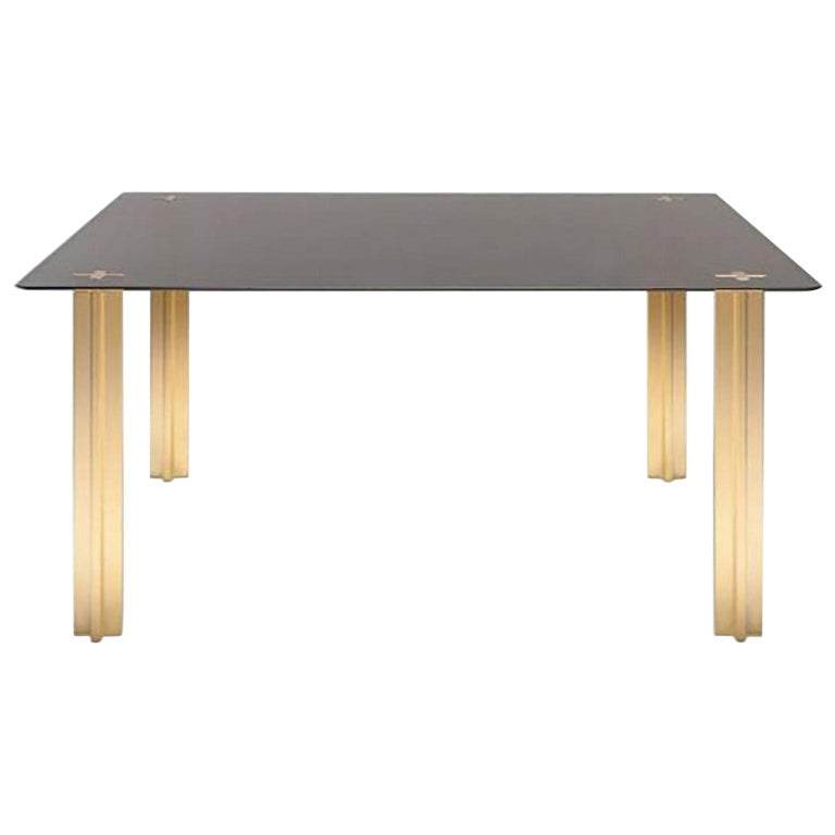 Gold Contemporary Square Table, Smoke Glass Top and Gold-Plated Aluminium Legs For Sale