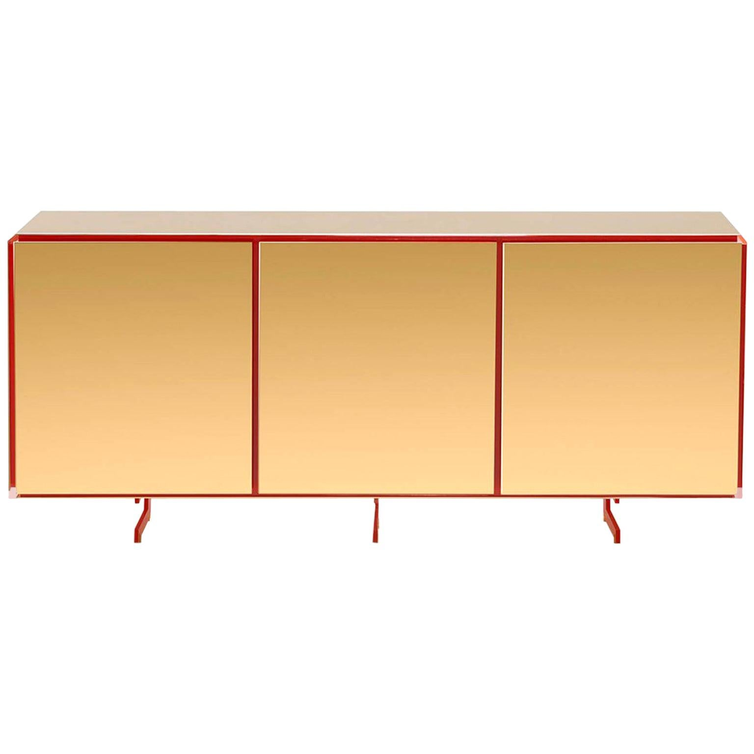 Gold Contemporary Three-Door Sideboard, 24-Karat Polished Gold-Plated