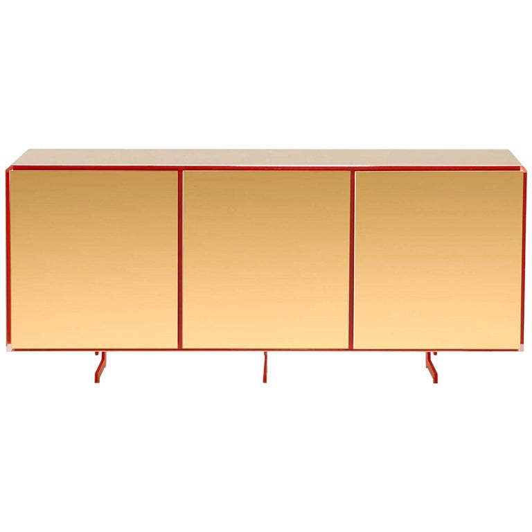 Gold Contemporary Three Doors Sideboard, 24-Karat Polished Gold-Plated For Sale