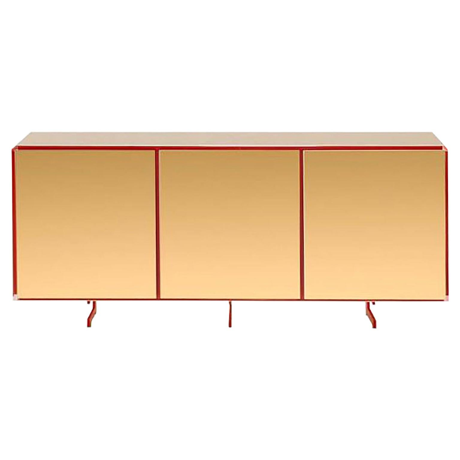 Gold Contemporary Three Doors Sideboard, 24-Karat Polished Gold-Plated