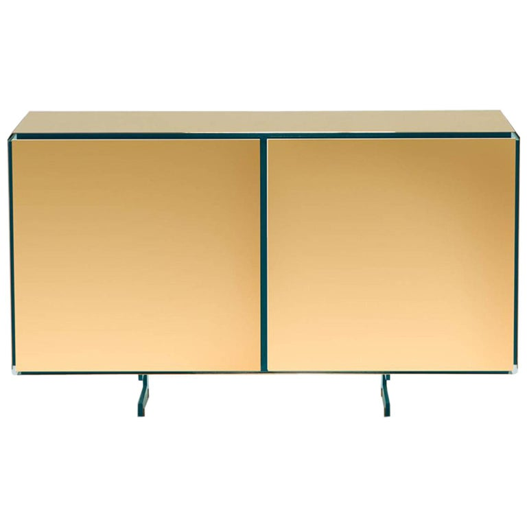 Gold Contemporary Two Doors Sideboard, 24-Karat Polished Gold-Plated For Sale