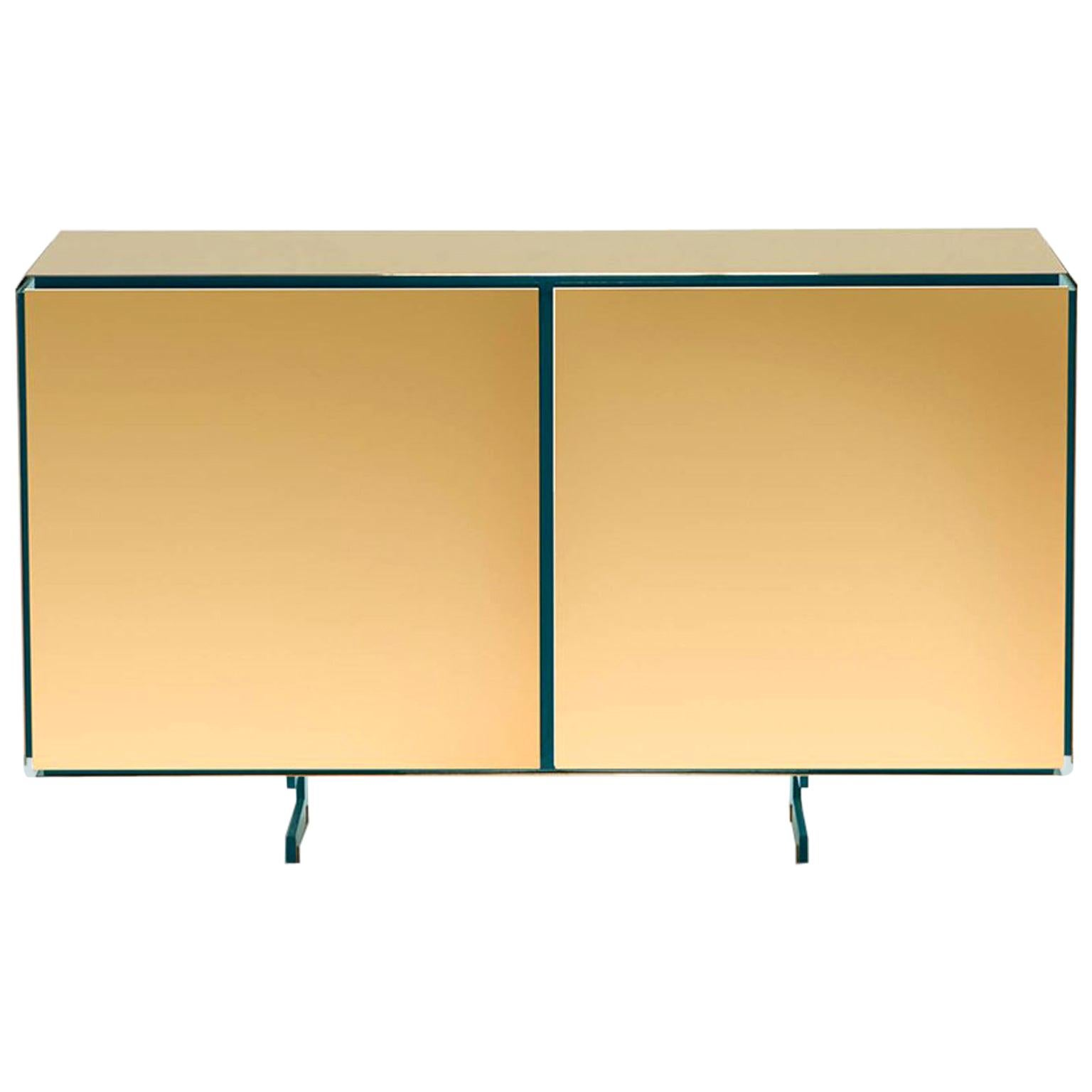 Gold Contemporary Two Doors Sideboard, 24-Karat Polished Gold-Plated