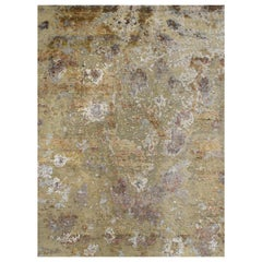 Gold Copper Rust Peach Beige Grey Hi-Low Hand-knotted Wool and Silk Rug