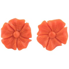 Gold Coral Flower Earrings