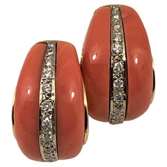 Gold, Coral Half Hoop Earrings with Diamond Stripe Down the Middle