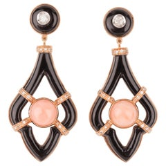 Gold Coral Onyx and Diamonds Pendants Earrings