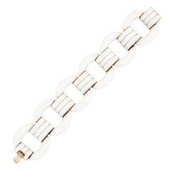 Gold & Cream Enamel Chunky Link Bracelet By Ciner, 1970s