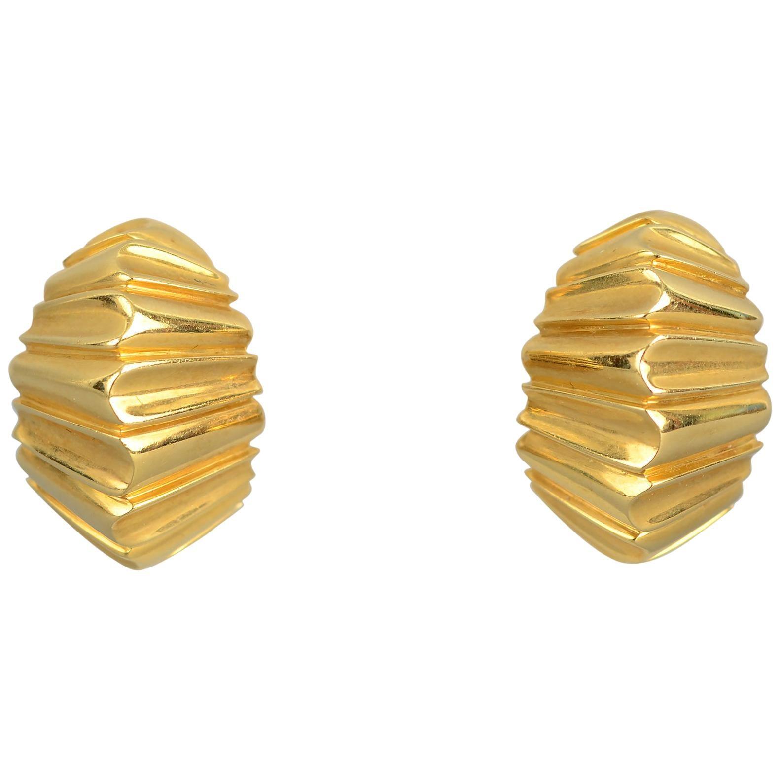 Gold Crimped Half Hoop Earrings