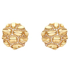 Gold Croco Button Diamond Earrings