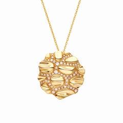 Gold Croco Button Diamond Necklace
