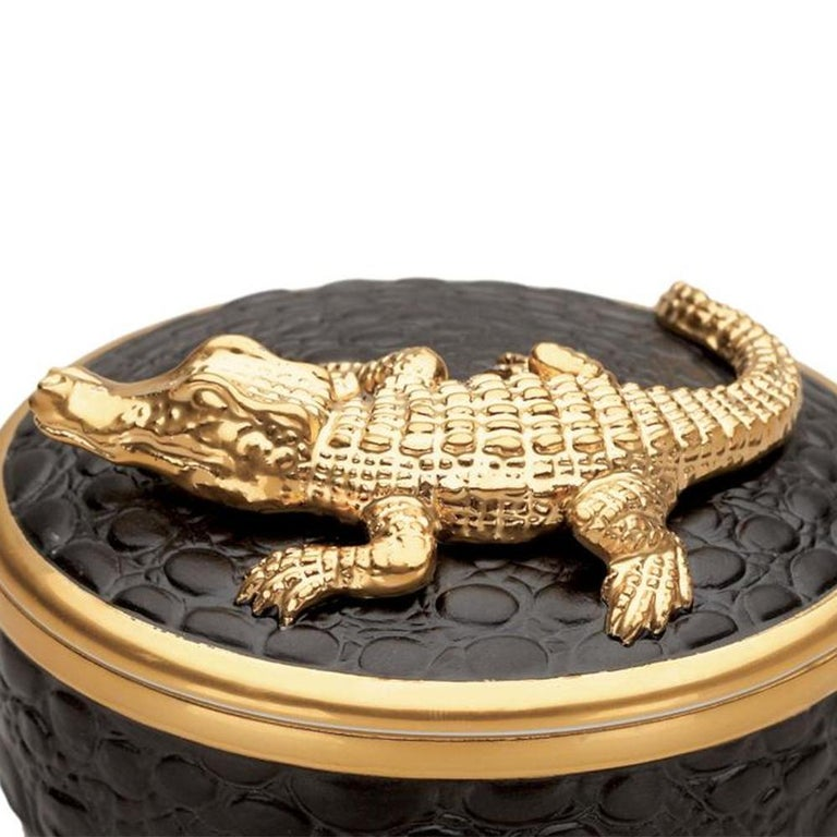 Portuguese Gold Croco Candle with 24 Karat Gold Plate  For Sale