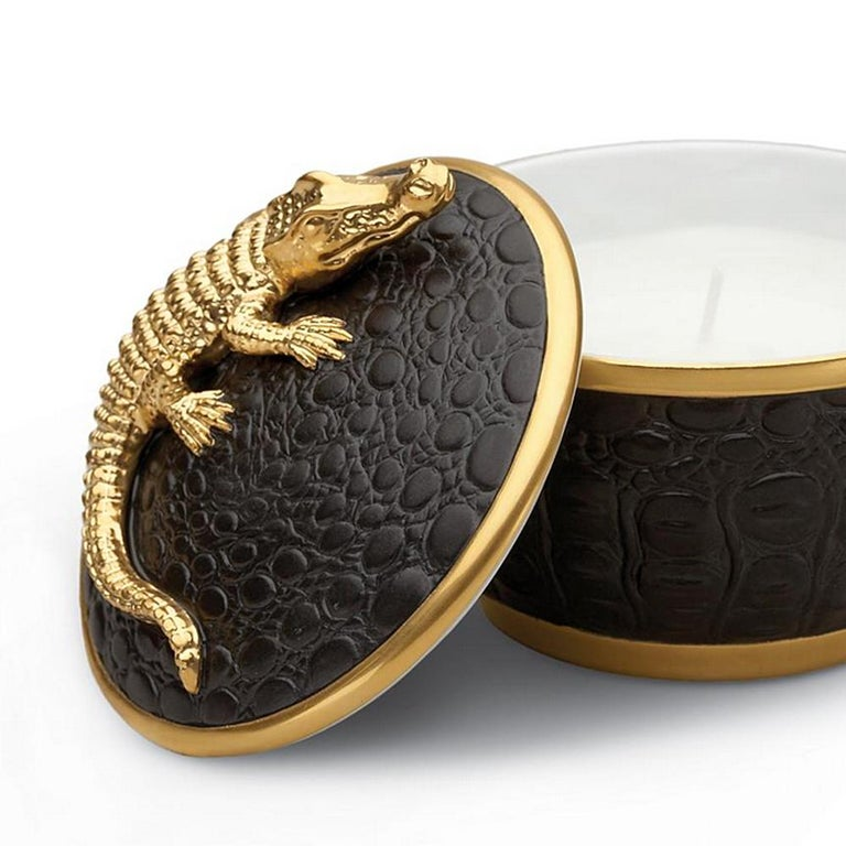 Hand-Crafted Gold Croco Candle with 24 Karat Gold Plate  For Sale