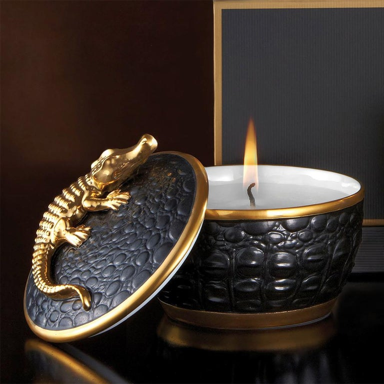 Contemporary Gold Croco Candle with 24 Karat Gold Plate  For Sale