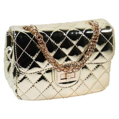 Gold Crossbody Quilted Purse with Keychain