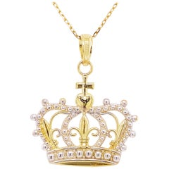 Gold Crown Necklace Pendant Mixed Metals You Are A Princess or Queen