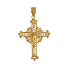 Gold Crucifix Pendant 19.2 Karat Yellow Gold, Portuguese circa 1970s Vintage