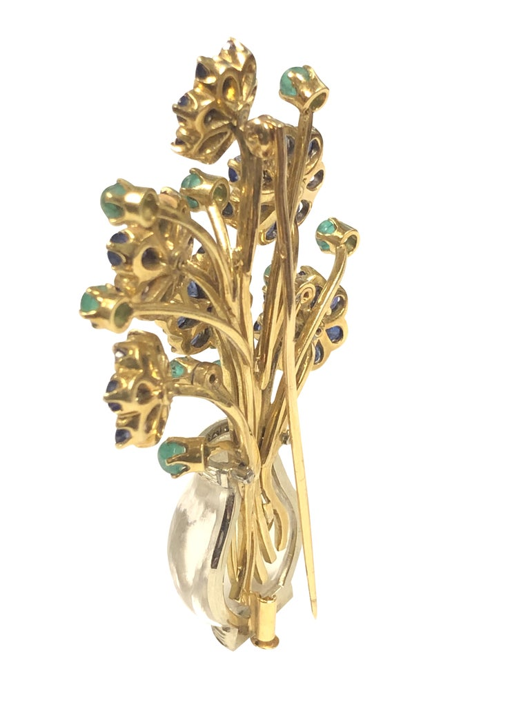 Gold Crystal and Gem Set Large French Giardinetto Flower Brooch In Excellent Condition For Sale In Chicago, IL