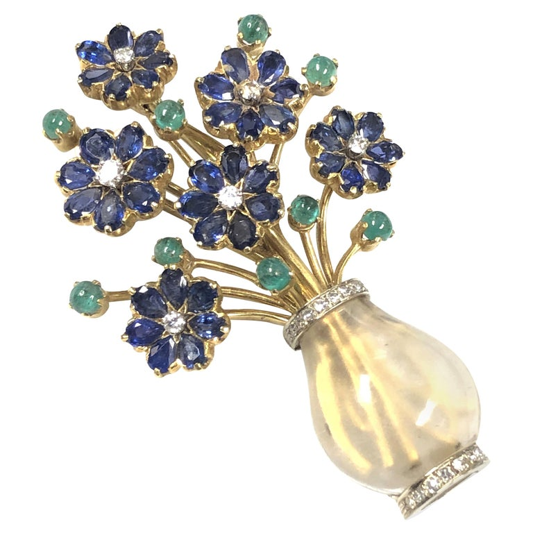 Gold Crystal and Gem Set Large French Giardinetto Flower Brooch For Sale