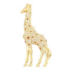 Gold Crystal Encrusted Figural Giraffe Brooch By Nolan Miller, 1980s