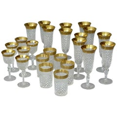 Gold Crystal Glass Stemware Josephinenhuette 12 Champagne 6 Wine 6 Water Glasses