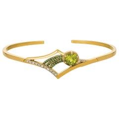 Gold Cuff Bracelet with Peridot, Tsavorite and Diamond in Shooting Star Design