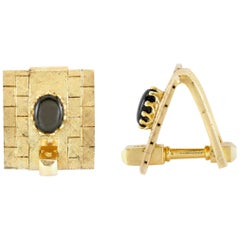 Gold Cufflinks with Onyx
