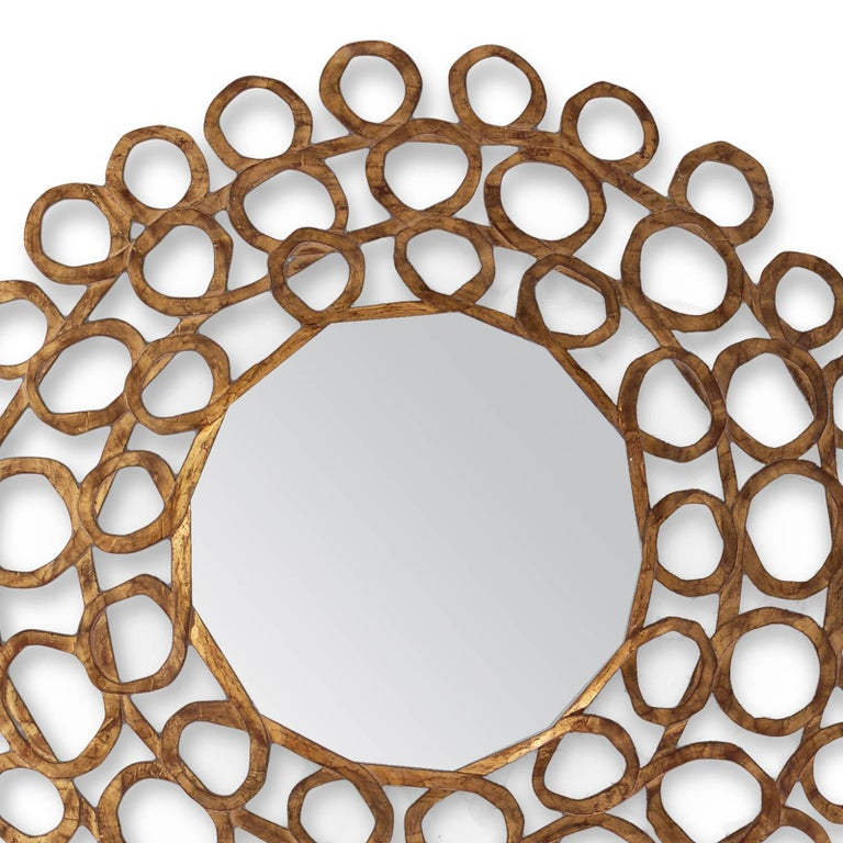 English Gold Curls Mirror in Hand-Carved Solid Wood in Old Gold Finish For Sale