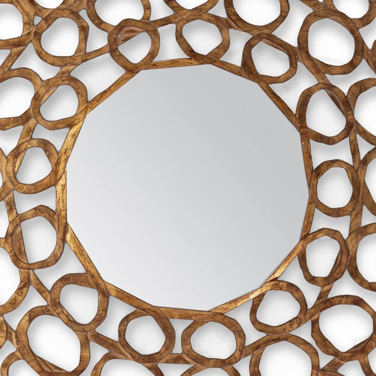 Gold Curls Mirror in Hand-Carved Solid Wood in Old Gold Finish In Excellent Condition For Sale In Paris, FR