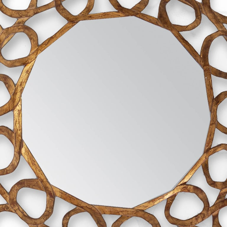 Glass Gold Curls Mirror in Hand-Carved Solid Wood in Old Gold Finish For Sale