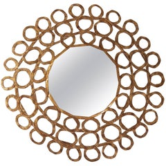 Gold Curls Mirror in Hand-Carved Solid Wood in Old Gold Finish