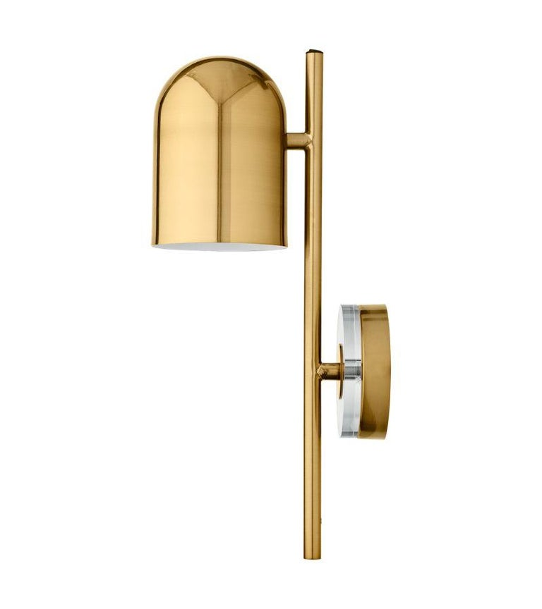 Danish Gold Cylinder Wall Lamp For Sale