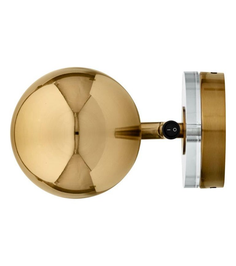 Plated Gold Cylinder Wall Lamp For Sale