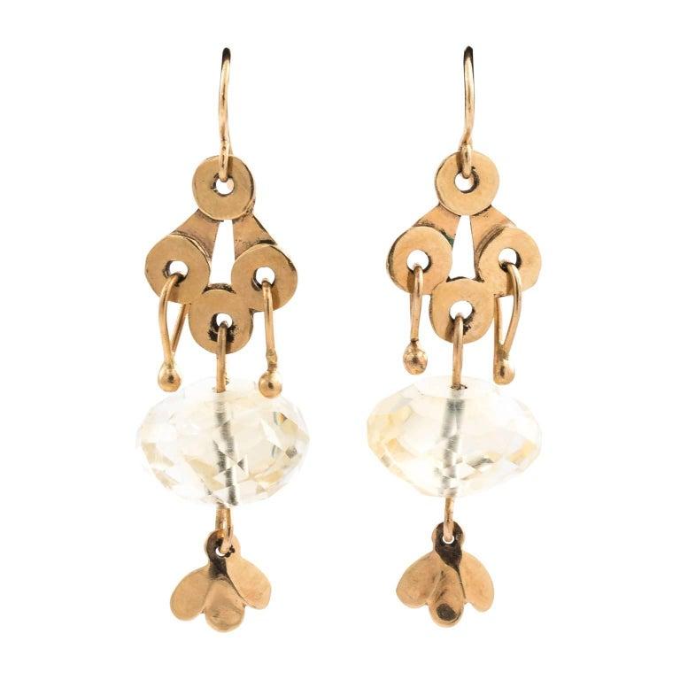 Gold Dangle Earrings, circa 1960
