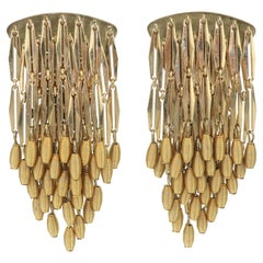 Gold Dangle Fringe Clip On Statement Earrings, 1980's